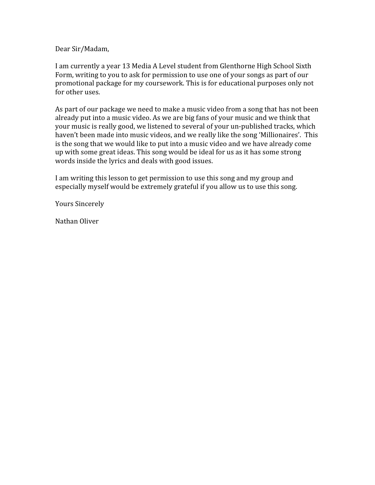 Nathan Oliver Permission Letter