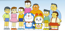 how to draw doraemon and his friends together