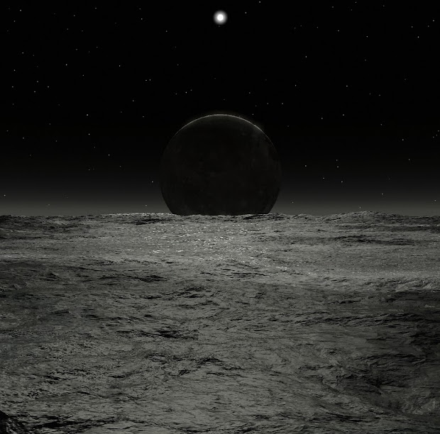A visualization of the sun and Charon from the surface of Pluto