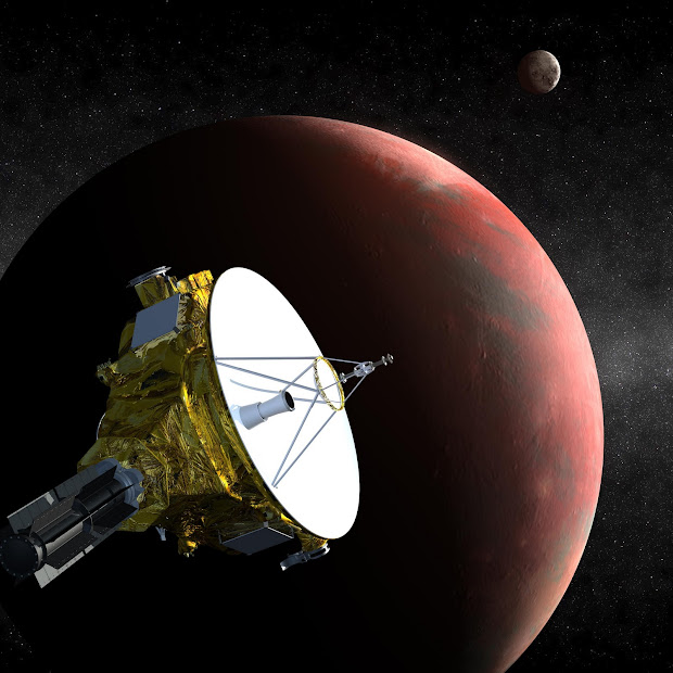The New Horizons spacecraft near Pluto and Charon in July 2015