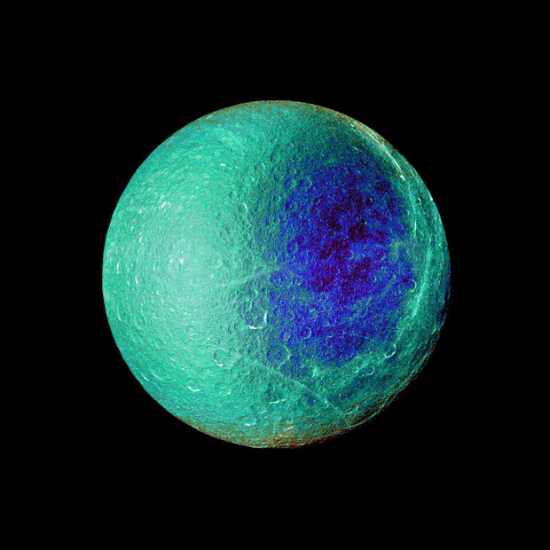 Elaborate image of Saturn's moon Rhea by the Cassini spacecraft