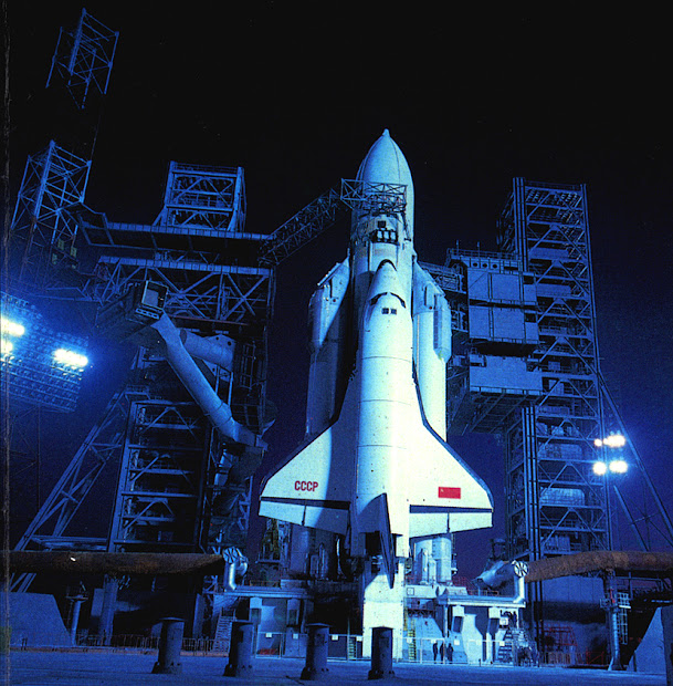 Space shuttle Buran on launchpad 110/37 in November 1988