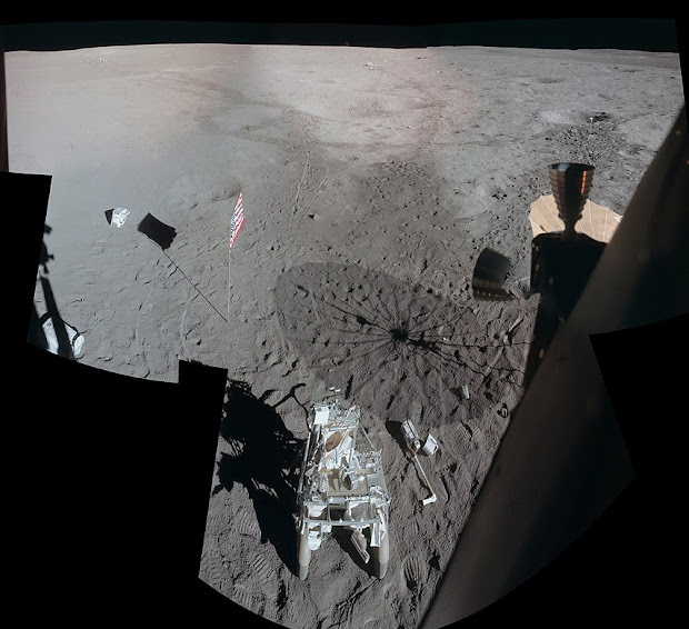 Apollo 14: astronaut Ed Mitchell's view from Lunar Module Antares