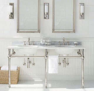 Modern Bathroom Sinks on The Double Pedestal Sinks  Such Simple Modern Elegance In This Bath