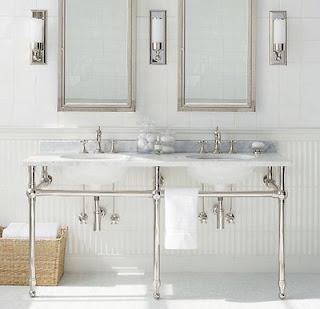 Modern Bathroom Sinks on The Double Pedestal Sinks  Such Simple Modern Elegance In This Bath