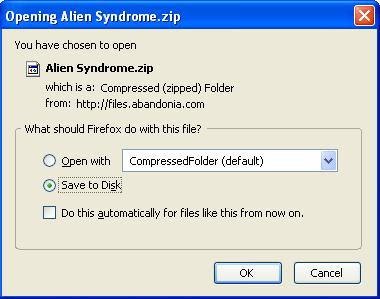 Saving Alien Syndrome zip file
