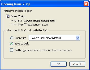 Saving Dune 2 zip file