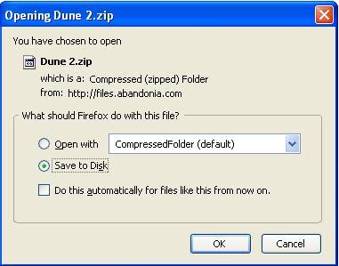 Saving Dune 2 zip file