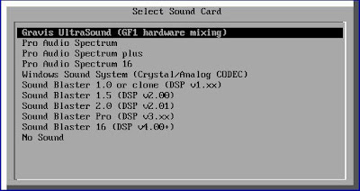 Selecting Gravis Ultrasound as the games soundcard