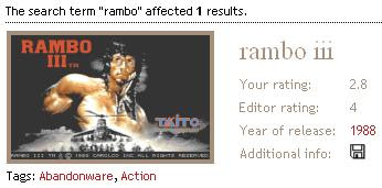 Game results Rambo 3
