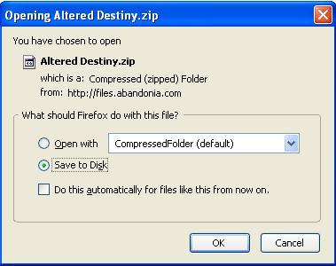 Saving Altered Destiny zip file