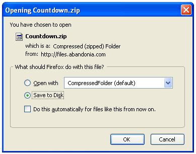 Saving zip file