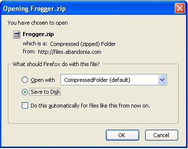 Saving Frogger zip file