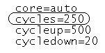 CPU cycles 250