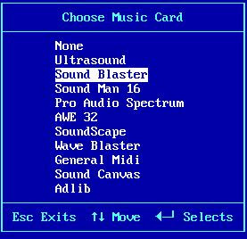Choosing Sound Blaster as the music card