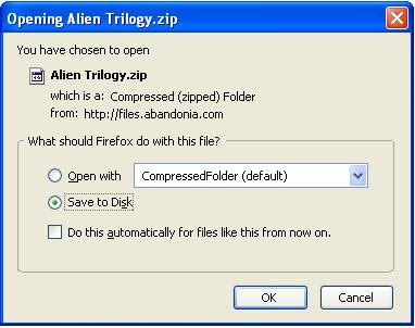 Saving Alien Trilogy zip file