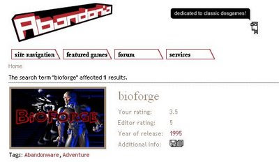 Abandonia game search results