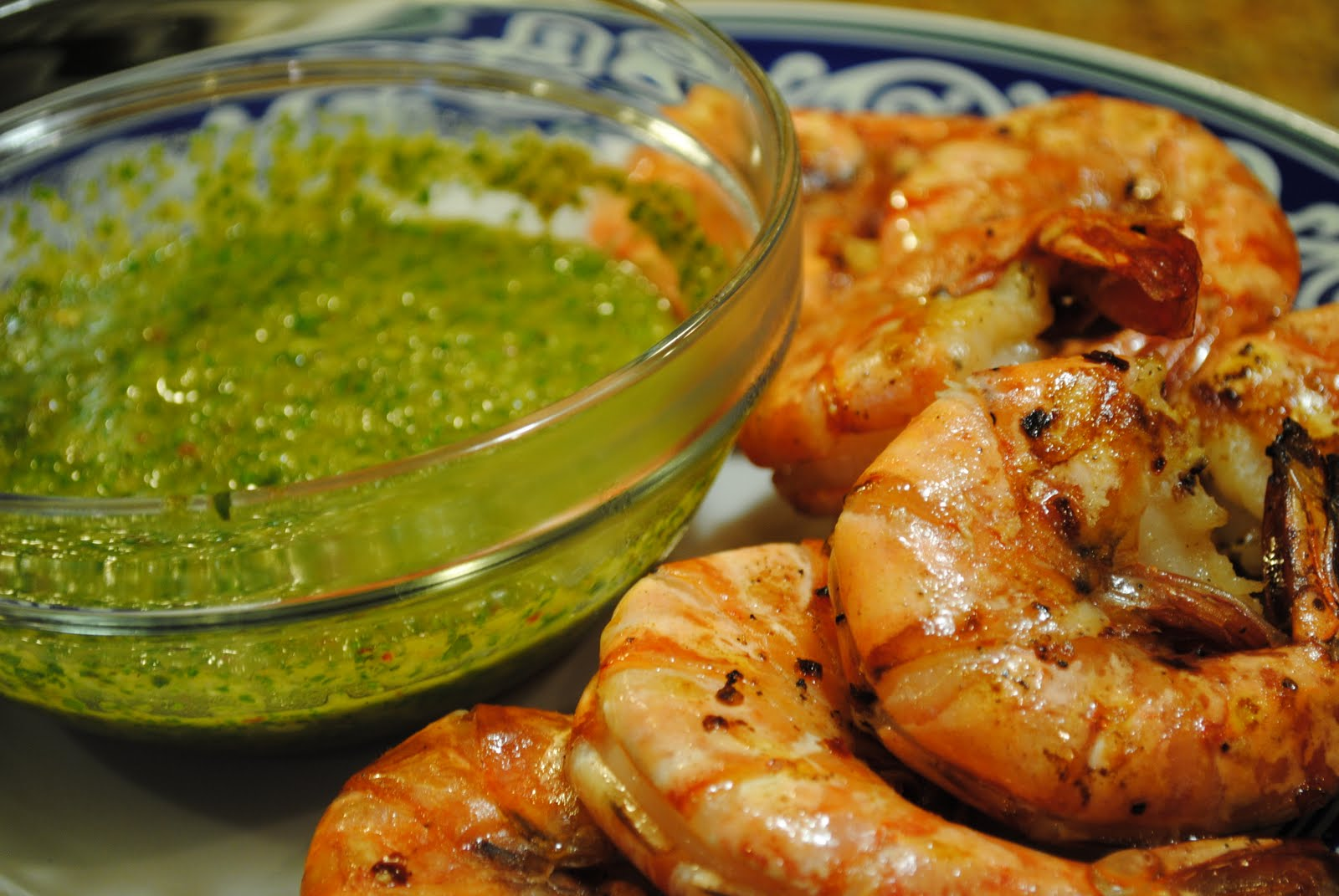 viva argentina grilled spicy prawns with chimichurri