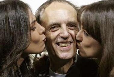 Moran Atias Asia Argento kissing Dario Argento