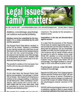 Free PDF newsletter on adultery, concubinage, marital infidelity and psychological violence under RA 9262