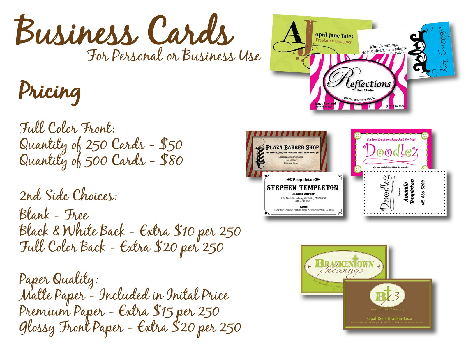 Business Card Design Pricing Choice Image - Free Business Cards