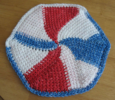 crocheted red white and blue dishcloth