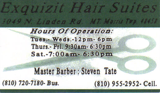 The Barber (810) 955-2952-Cell (810)720-7180-Bus.