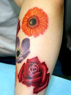 4.Elegance Flower Tattoo Designs With Calf Flower Tattoo Photo Gallery