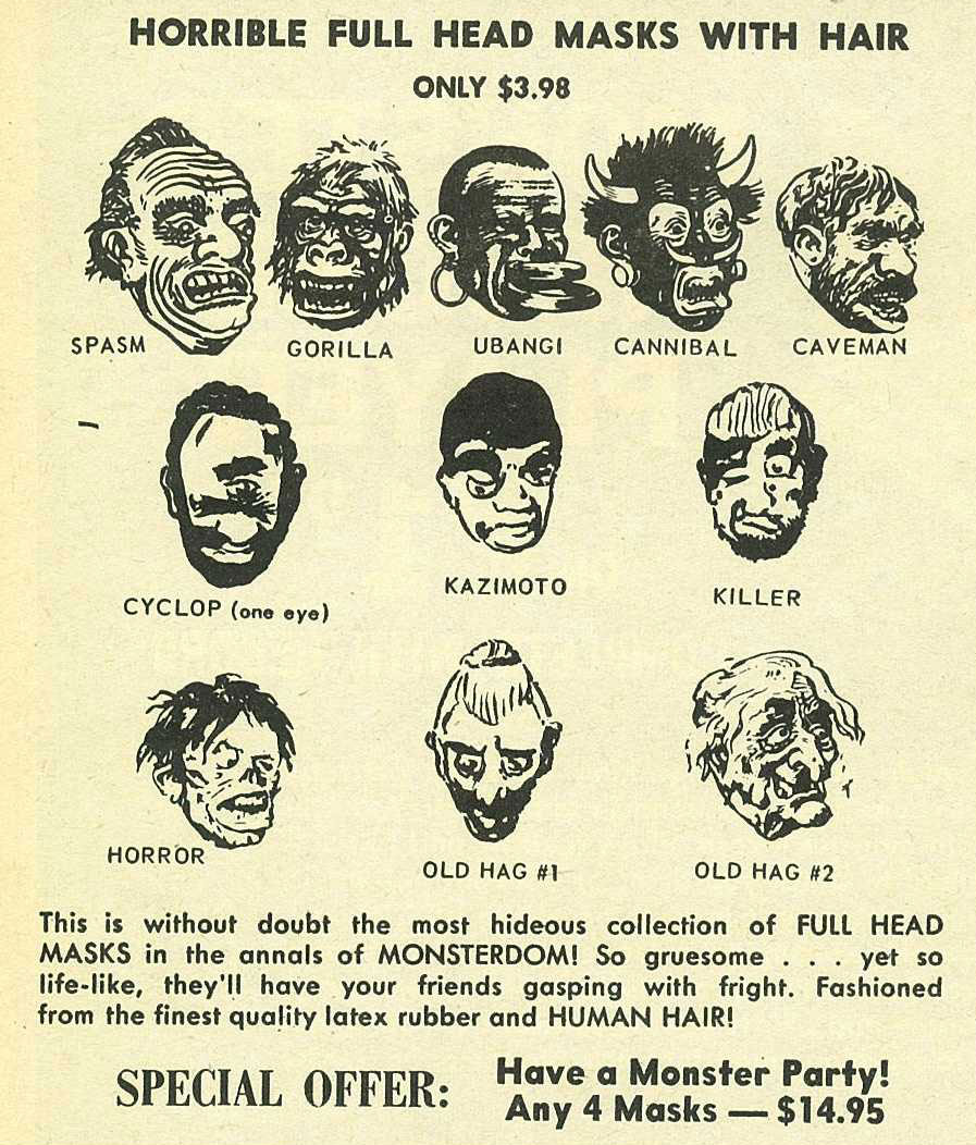 Topstone Halloween Mask Ads - Mad Monsters Magazine (1963) | Blood ...