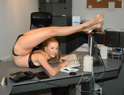 Hey, boss. I'm just doing some hot yoga while I work.
