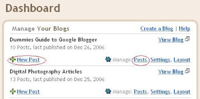 Blogger Dashboard, Adding new post