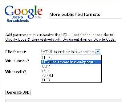 Google Spreadsheet Publish Format