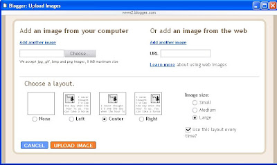 Blogger image upload pop-up window