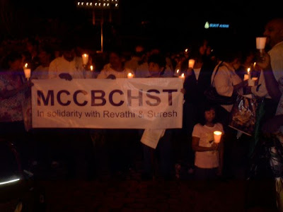 candlelight vigil for Revathi and for Malaysia