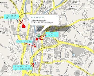 map to Masjid Jamek LRT station, Lebuh Pasar Besar, Malaysia Bar Council
