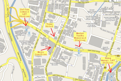 map Tune Hotel at junction of Jalan Tunku Abdul Rahman and Jalan Sultan Ismail