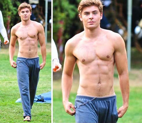 enough said zack efron is sporting his bulge in these thin blue sweats