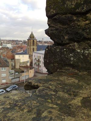 church spire, wall