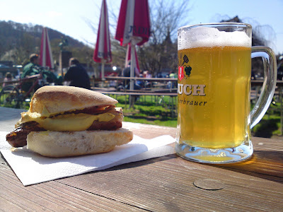beer,  sausage, sun, bench