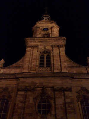 basilika, church, nighttime illumination