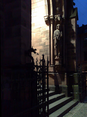 church entrance, twilight,