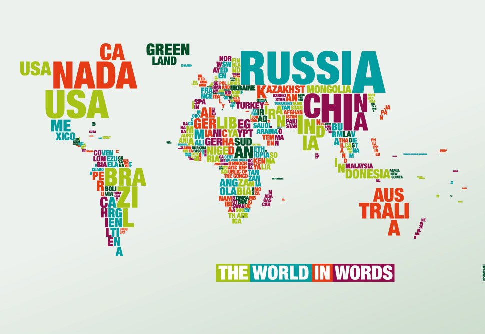 Varimage Typography Of The World Map