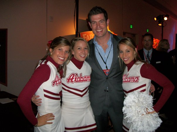 ESPN'S JESSE PALMER WITH BAMA CHEERLEADERS AT ESPN ZONE....
