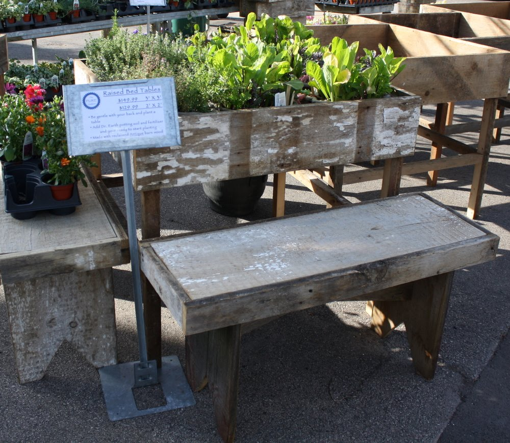 The pure gardener inc just in barn wood raised beds for Local reclaimed wood