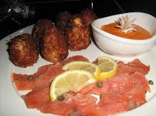 Salmon Gravlox and Lobster Croquets