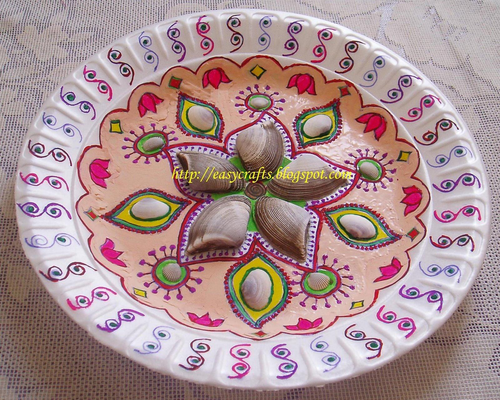 Easy crafts explore your creativity decorative plate for Arathi thattu decoration