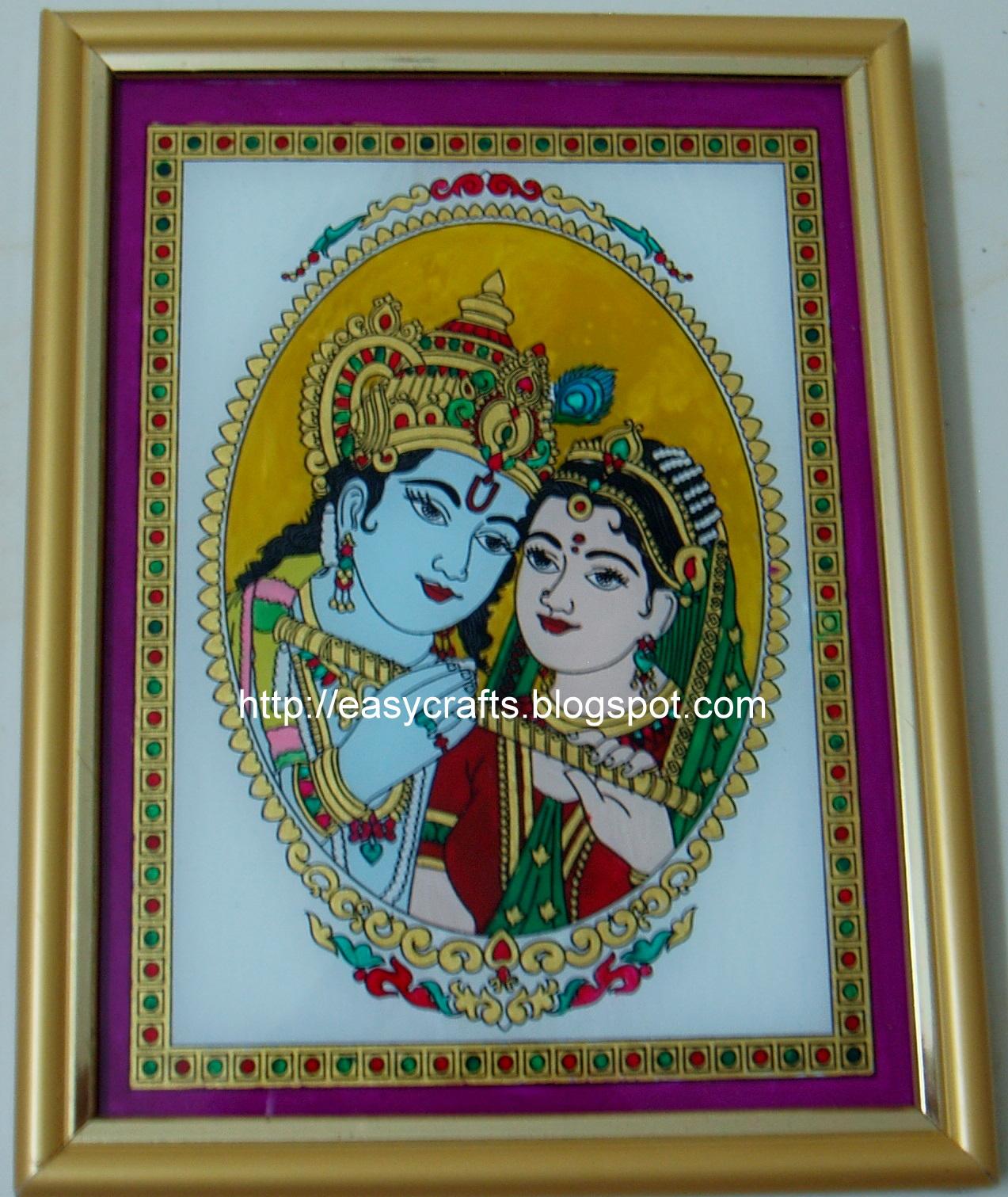 Radha Krishna Sketch Painting Radha Krishna Glass Painting