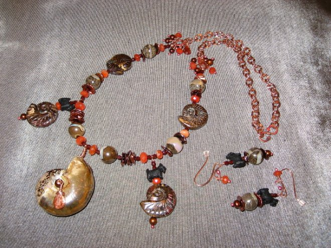 Opalized Ammonite Necklace Set