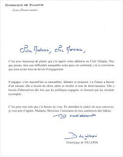 Lettre adressée aux nouveaux adhérents de son club politique par Dominique de Villepin