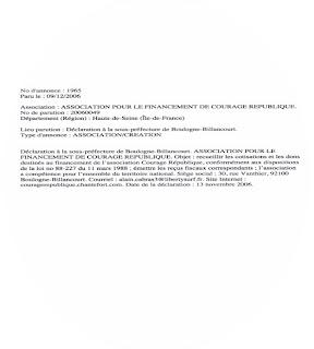 Texte de la création de la formation Courage République au Journal officiel en 2006